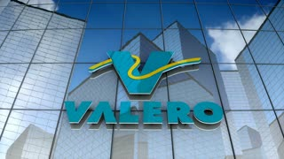 Editorial, Valero Energy Corporation logo on glass building.