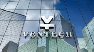 Editorial, Ventech logo on glass building.