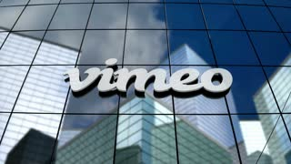 Editorial, Vimeo LLC logo on glass building.