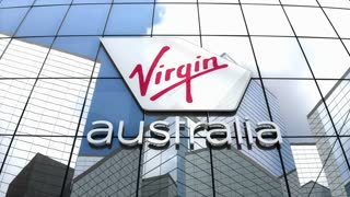 Editorial, Virgin Australia Airlines logo on glass building.