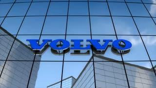 Editorial, Volvo logo on glass building