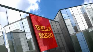 Editorial, Wells Fargo logo on glass building.