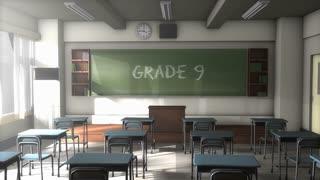 Empty Grade 9 school classroom