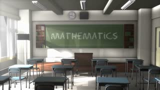 Empty Mathematics school classroom