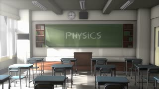 Empty Physics school classroom