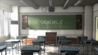Empty Science school classroom