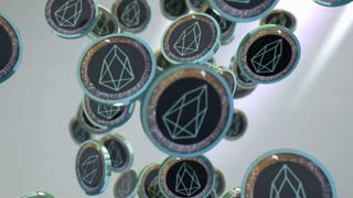 EOS coin, Digital currency animation.