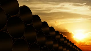 Pipe barrel stack with sunset background