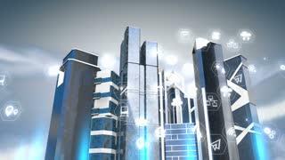 Smart city 3d background animation