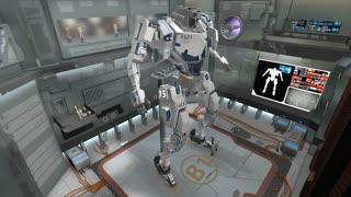 Spaceship hangar with giant battle robot