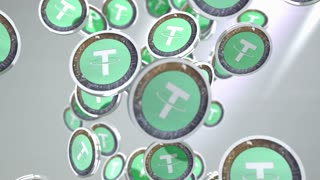 Tether coin, Digital currency animation.