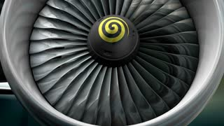 Turbo jet engine front view.