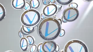 VeChain coin, Digital currency animation.
