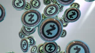 Zcash coin, Digital currency animation.