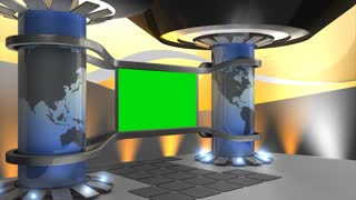 Virtual set, with green screen, stage, studio, green screen, broadcast, internet.