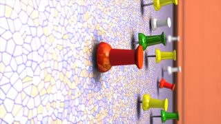 Wall pin 3d animation, close up, push, thumb, colourful.