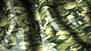 Waving animation with pattern, military camouflage.