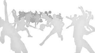 White silhouette sports, flat, 3d, background.