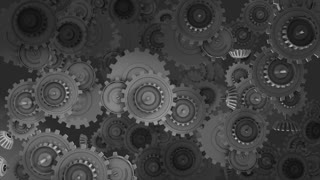 Working gears concept animation, steel, metal, cogwheel, turning.