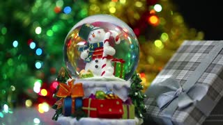 Snowman Sphere Christmas Gift Box Valentines Day and Birthday Concept