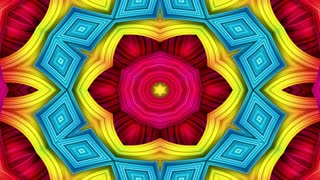 Abstract Colorful Hypnotic Symmetric Pattern Ornamental Decorative Kaleidoscope Movement Geometric Circle And Star Shapes 6