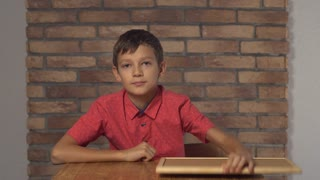 Portrait little boy showing whiteboard with handwriting word why. Schoolboy with asking on his face. Preadolescent wearing in casual red shirt