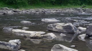 River with transparent clear water and big different stones. On the coast green grass and fresh trees
