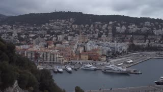 Seascape in the marine city Nice France. Amazing view on the sea with yachts and boats and ships in dock.