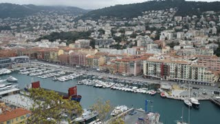 Seascape in the marine city Nice France. Amazing view on the sea with yachts and boats and ships in dock