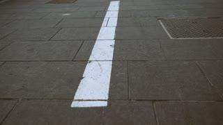 Sidewalk with symbol bicycle lane. Pavement of paving