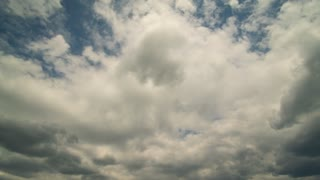 Amazing cumulus clouds move across the blue sky. Time lapse 4k