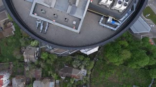 Helipad in the police station on the roof of the house 4K UHD aerial footage