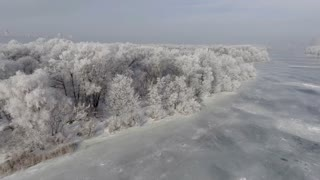 Low flying over a winter forest. Aeria 4k video