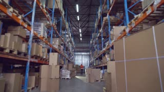 Man worker at warehouse going along metal shelving with boxes holding digital tablet. Manager at storehouse entering data for logistic