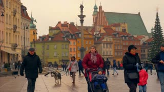 Warsaw, Poland- December 26, 2017 People walk down the street in the old city on New Year's Eve. time-lapse