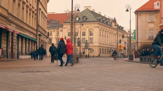 Warsaw, Poland- December 26, 2017 People walk down the street in the old town. time-lapse