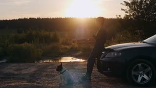 Woman standing near car french bulldog sitting on the ground. Female in the roadside using smartphone texting message. Beautiful evening landscape with sunrays and green forest