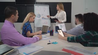 Young woman leader giving presentation standing near flipchart using digital tablet. Staff sitting in boardroom listening about new sales and growth strategy
