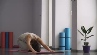 woman doing yoga exercises and relax