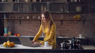 Young businesswoman working with laptop on the kitchen at home. Happy smiling woman typing on computer using internet in apartment. Elegant professional caucasian lady wearing in stylish dress