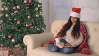 Young woman sitting on the sofa reading book and drinking hot cocoa. Beautiful young girl resting alone at home. Wonderful christmas tree in apartment. Caucasian model wearing in casual sweater and