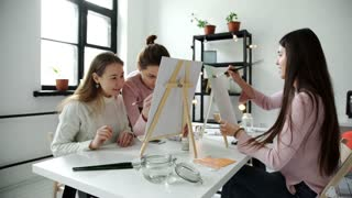 Group of students painting at art lessons. 4k 20s