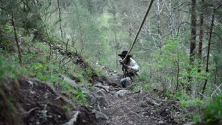 Hiker woman hiking in forest, stops and looks around