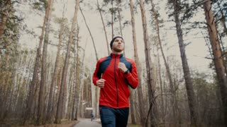 Man running in forest woods training