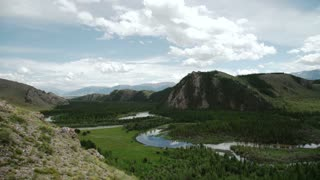 mountain landscape panorama altay river