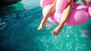 Swimming Pool, Women 20s, Beach. 1080p Slow Motion. Close up.