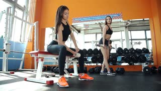 Two young confident womans doing biceps curl exercise with dumbbells in fitness center. Slim girl training in the gym with dumbbells 20s. 1080p Slow Motion