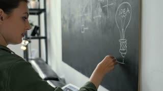 4K Teacher writing math formulas on blackboard and talking to her class 20s 4k.