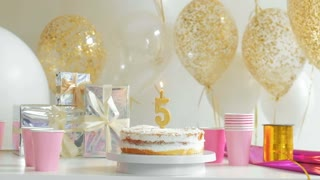 Birthday cake with one candle. five years 1080p fullHD