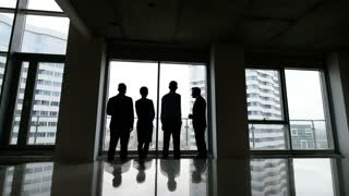 Business team of managers standing talk in office